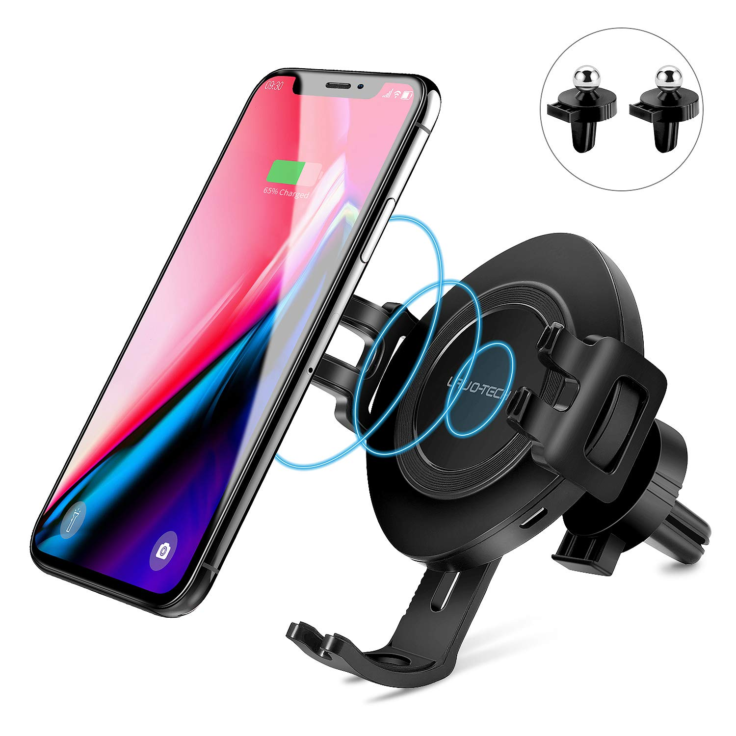 Wireless Car Charger Mount Fast Charging, Lavo-Tech Qi Wireless Charger Air Vent Phone Holder for iPhone X,iPhone Xs/iPhone Xs Max/Samsung Galaxy S9 /S8/Note 9/Note 8 and Other Qi Enabled Devices by LAVO-TECH