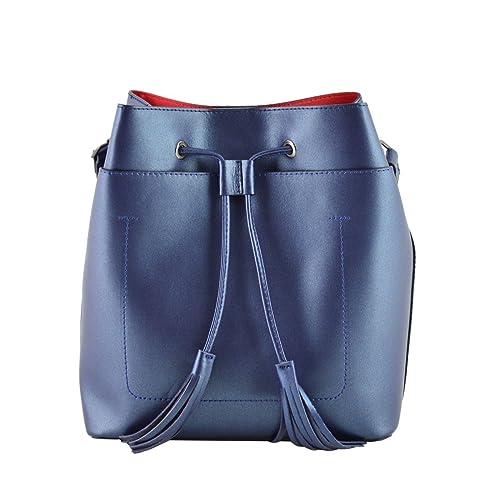 Bolso De Cubo En Piel Verdadera Color Azul Oscuro Metálico - Peleteria Echa En Italia - Bolso Mujer: Amazon.es: Zapatos y complementos