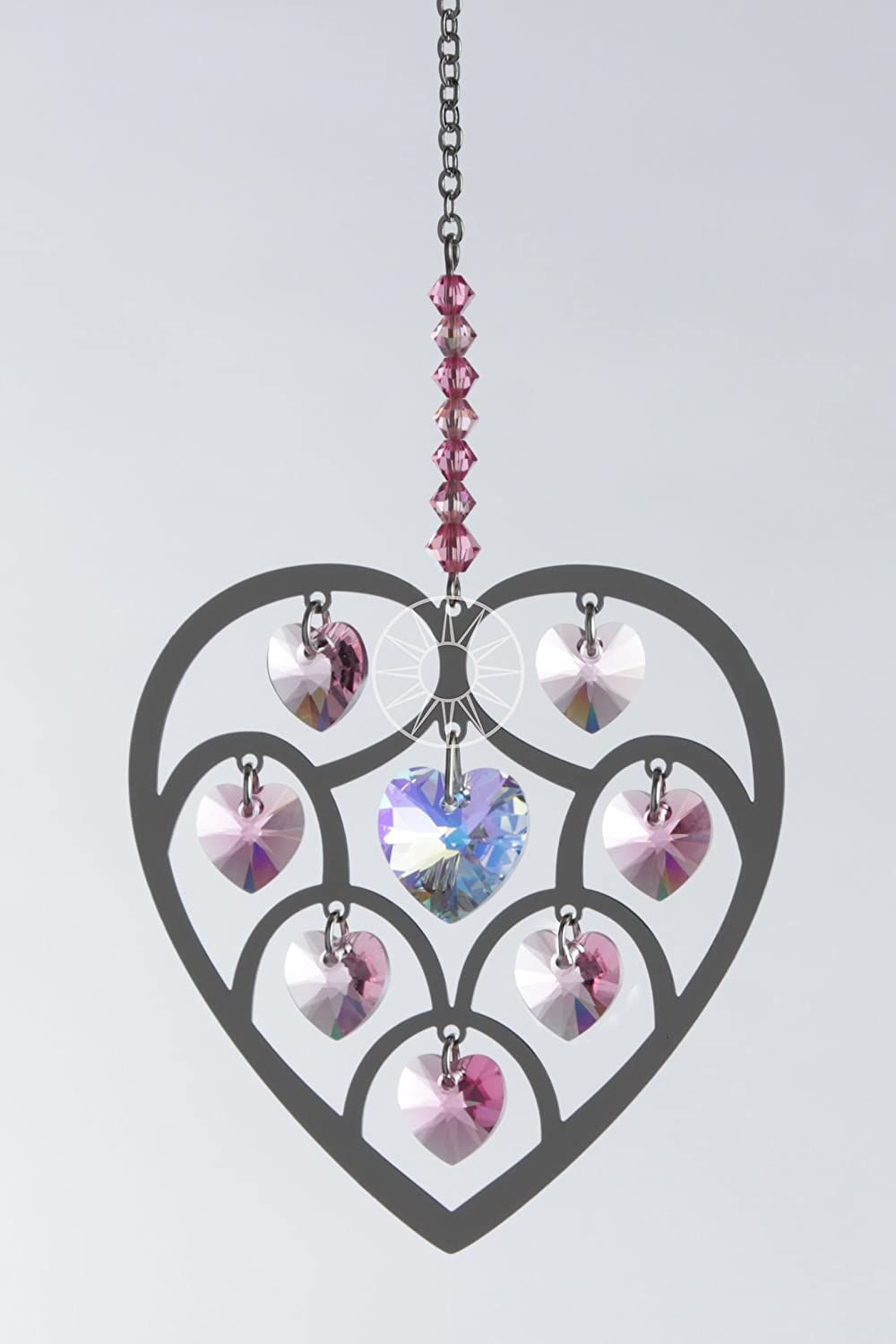b2815e5b3 Swarovski Heart of Hearts Rose Pink Crystal Brass Hanging Rainbow Suncatcher /Rainbow Maker: Amazon.co.uk: Kitchen & Home