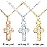 Tiny Diamond Accented Cross Pendant & Chain in 14K Gold