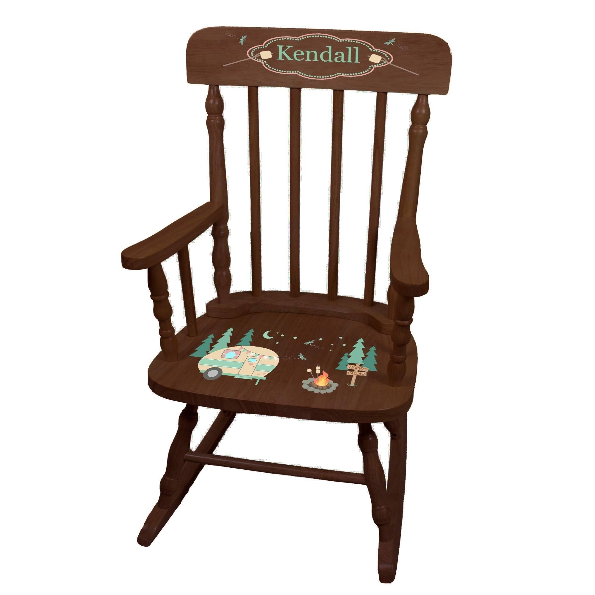 MyBambino Personalized Camp Smores Espresso Childrens Rocking Chair