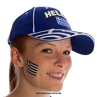 10Grecia Tattoo Bandera Fan Set–Greece Flag Fan Artículo (10)