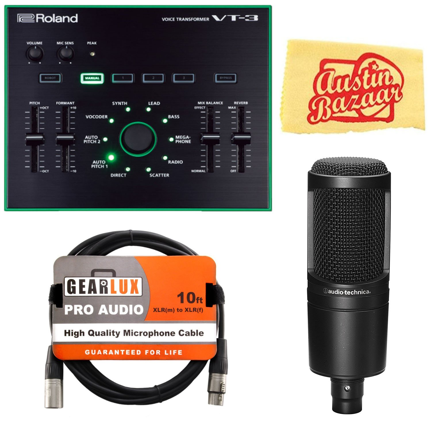 Roland VT-3 Voice Transformer Bundle with Audio Technica AT-2020 Cardioid Condenser Microphone, XLR Cable, and Austin Bazaar Polishing Cloth VT-3-COMBO-PRO-1