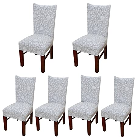 6 X Stretch Dining Room Chair Slipcovers With Printed Pattern Banquet Seat Protector Slipcover