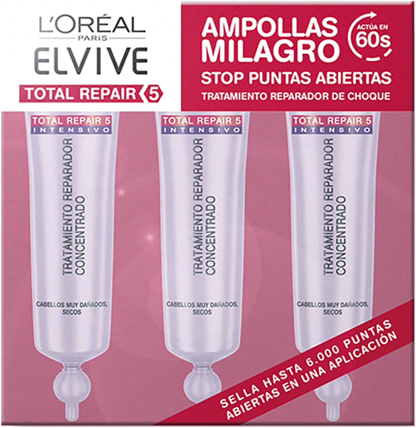 L'Oréal Paris Elvive Total Repair 5 Ampolla Reparadora para El Pelo Dañado 3 x 18 ml - Total: 54 ml
