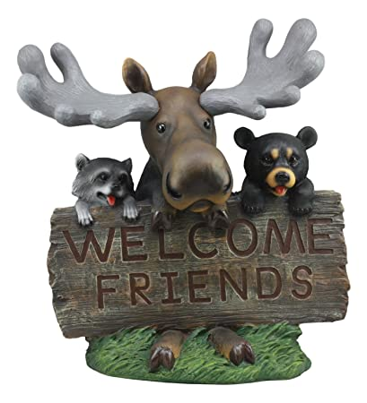 Ebros Whimsical Forest Friends Moose With Raccoon And Black Bear Welcome  Friends Sign Statue 18u0026quot;