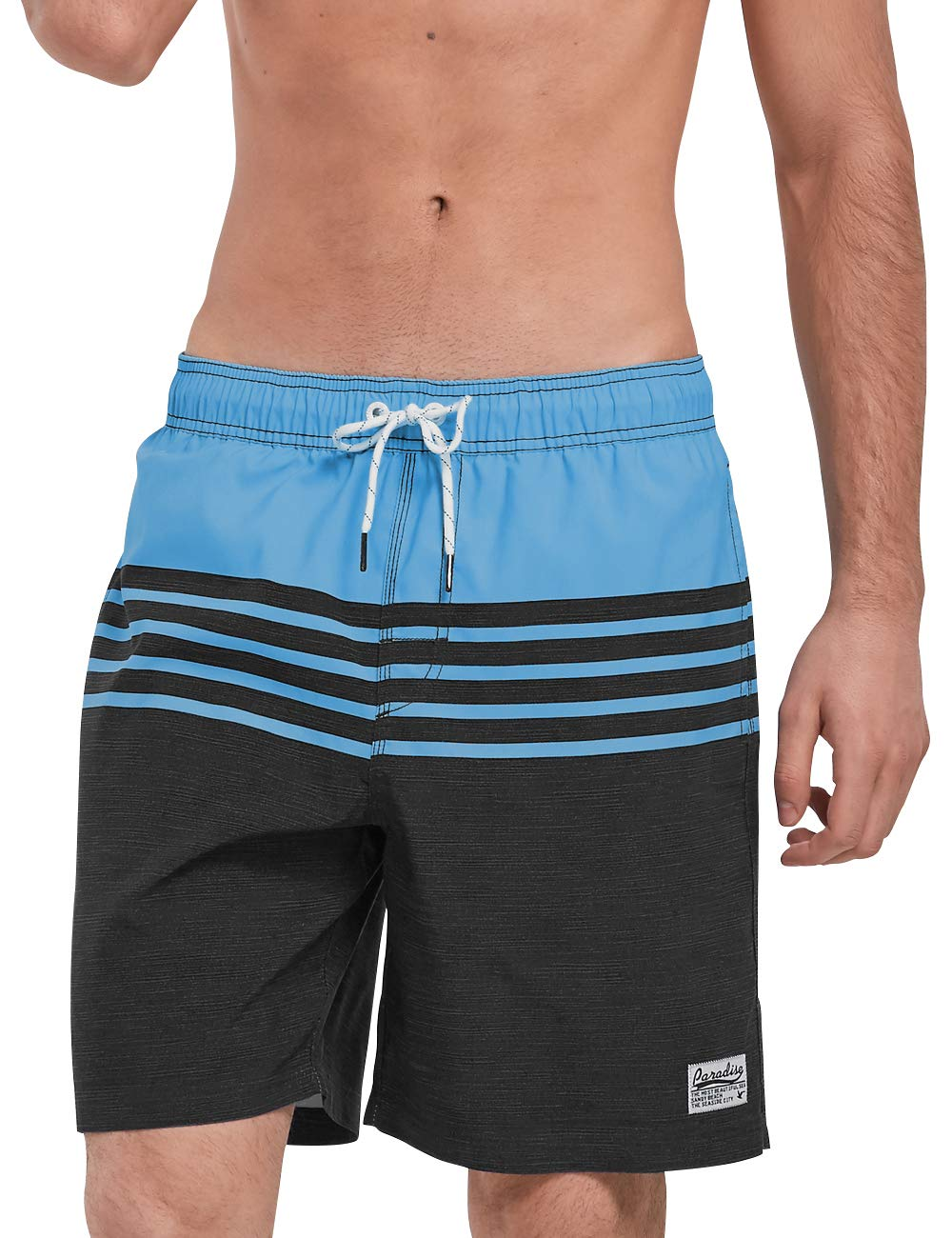 QRANSS Mens Swimming Trunks with Mesh Lining Surfing Shorts (Medium / 34-36 Inches, Blue Gray) by QRANSS