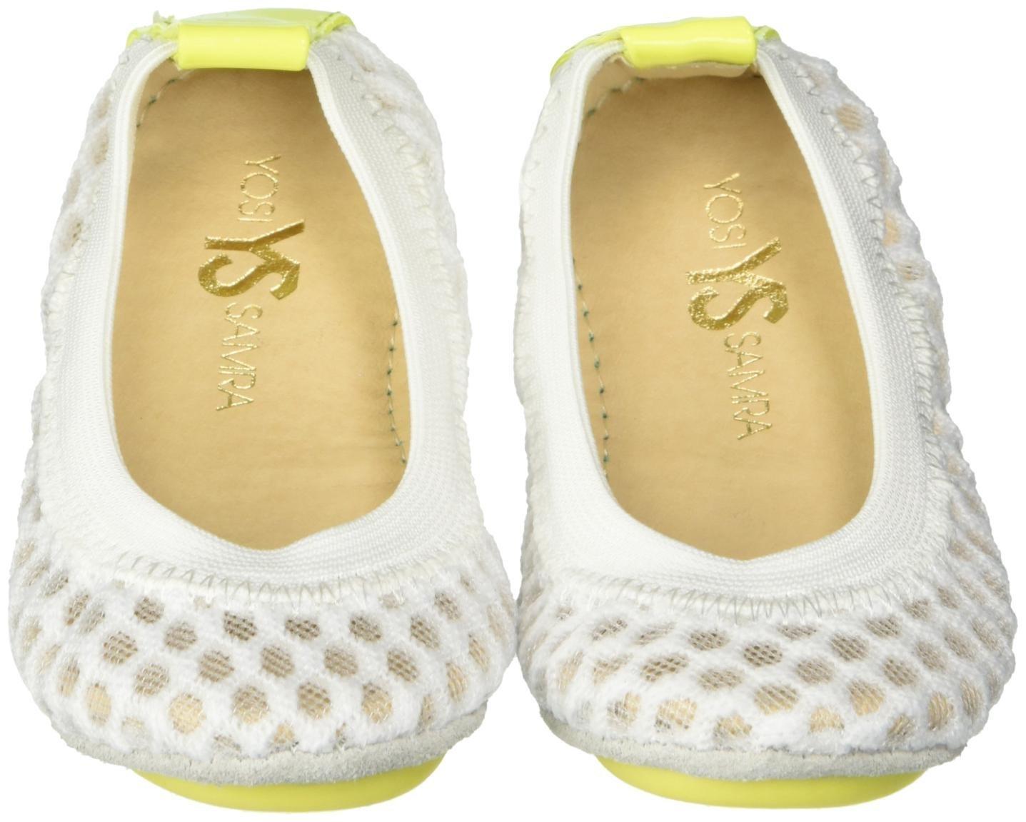 Yosi Samra Girls Sammie 3D Waffle Mesh Slip on Ballet Flat (Toddler), White/Citron, 9 M US Toddler