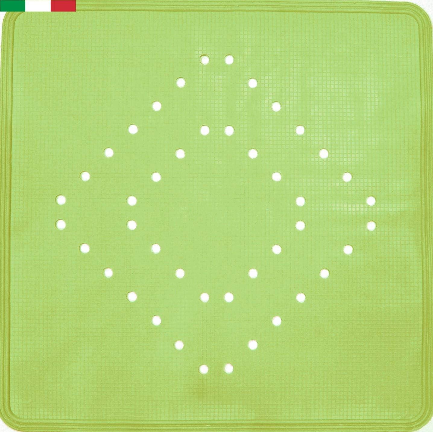 Made in Italy CENNI 81356 Tappeto Antiscivolo Doccia Verde 54 x 54 cm in Gomma