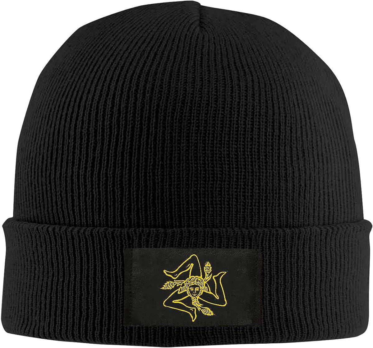 Flag of Sicily Men /& Womens Knitted Hat Stretchy Skull Cap