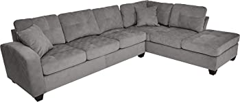 Homelegance Sectional Sofa Polyester w/Reversible Chaise & Two Pillows