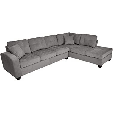 Homelegance Emilio 110  x 78  Fabric Sectional Sofa, Taupe