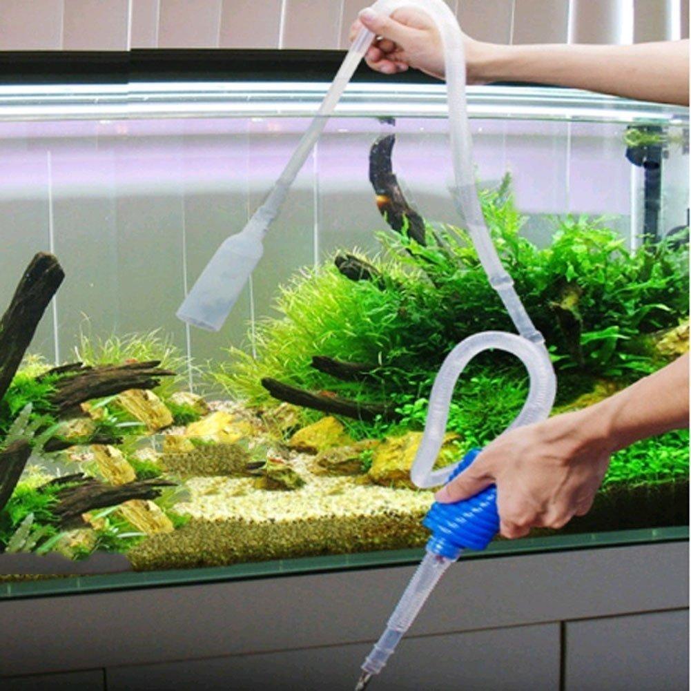iRoundy Sifón Bomba Vacío Tubo para Limpiar Acuarios Peces Tanque Cambia el Agua Limpia el Fondo Grava (Transparente/Azul): Amazon.es: Productos para ...