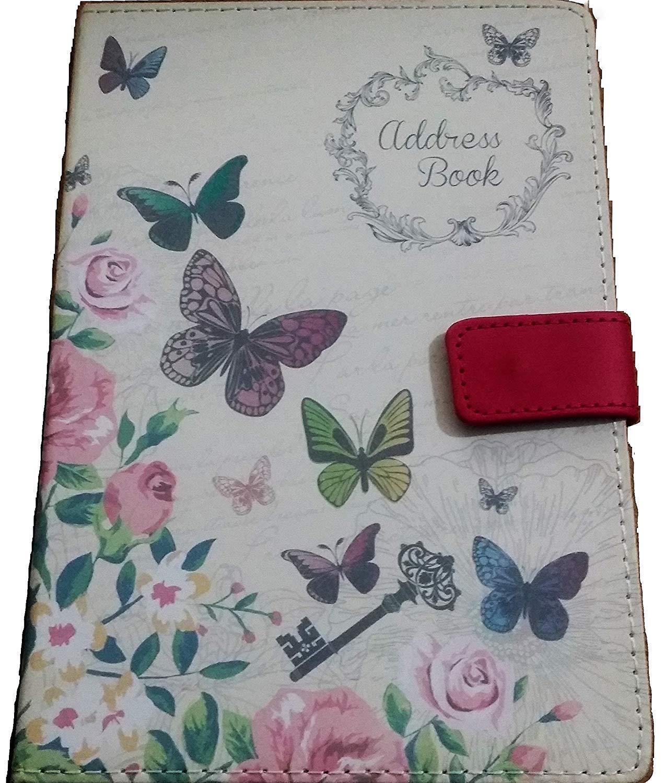 A5 A-Z Address Book HB Butterflies Linen Cover Press Stud Fastening Tallon