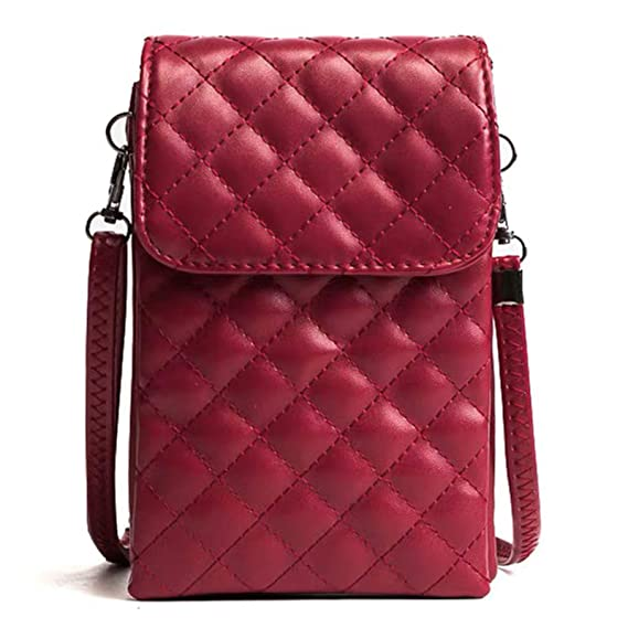 fa396f51bb4a Small Shoulder Bag for Women, Techcircle Quilted PU Leather Crossbody Purse  Cell Phone Pouch Travel Wallet with Adjustable Shoulder Strap for Galaxy ...