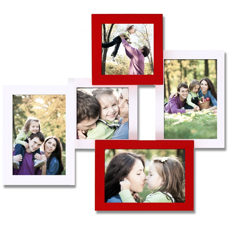ELEGAN White 5 Opening Rectangular Stack Wood Collage Picture Photo Frame 4x6 /& 4x4 Edeco