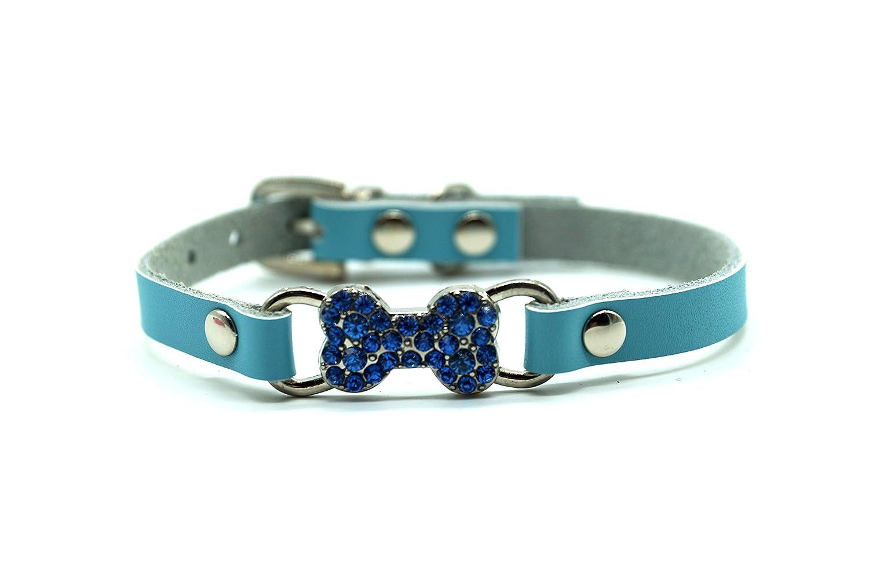 blueE S blueE S Diamante Bone Charm Dog Collar (S, bluee)
