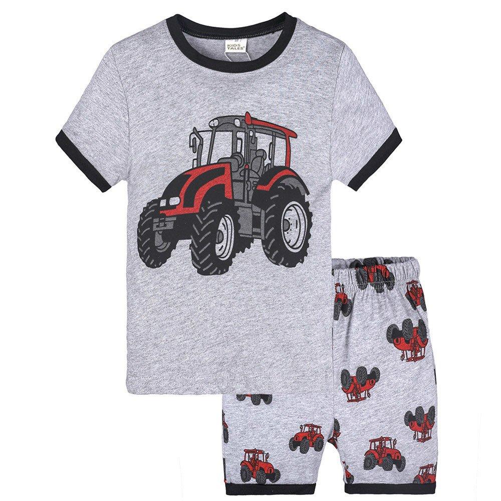 Hatoys 2PCS Toddler Kids Baby Boys Girls Pajamas Cartoon Print Tops + Shorts Outfits Set (5T(Height:125-130CM), Gray)