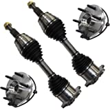 Detroit Axle - Pair (2) Front CV Axle Shafts + Pair (2) Front Wheel Hub & Bearing Assembly for Chevy GMC Savana Escalade Aval