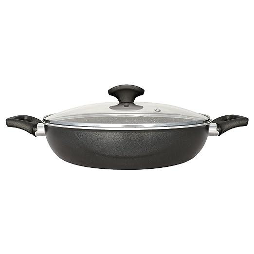 San Ignacio Gourmet-Tartera De 28 Cms. con Tapa De Vidrio, Aluminio, Gris Oscuro, 28 cm