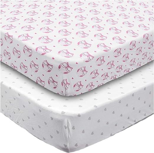 "Boritar Cotton Crib Sheet Soft Stretchy Jersey Knit 2Pack 28/""X52/""Semi-Waterproof"