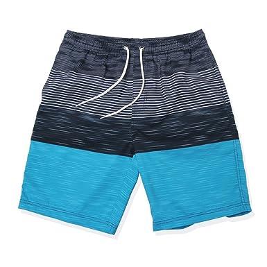 05ef83b312e3 GWELL Herren Streifen Wasserdicht Badeshorts Beachshorts Boardshorts  Badehose Sommer Strand blau  Amazon.de  Bekleidung