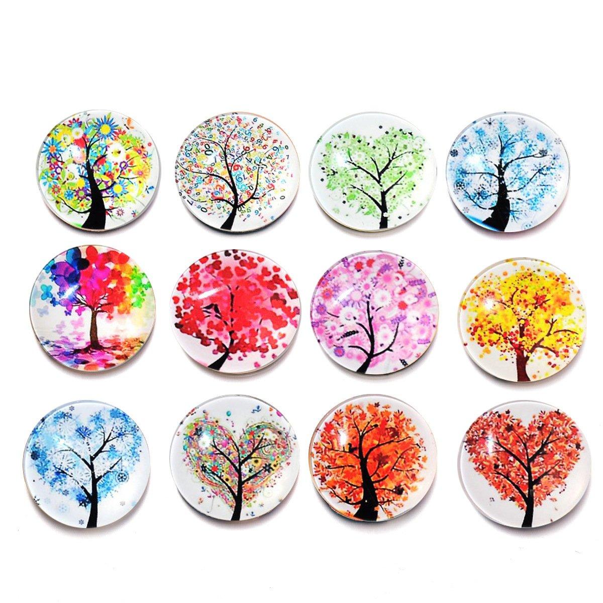 ULTNICE Magneti albero della vita rotondi colorati per frigo e lavagna 12PCS