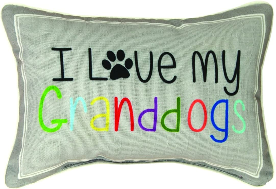 Manual Woodworkers & Weavers Word Throw Pillow, I Love My Granddogs, 12.5 x 8.5