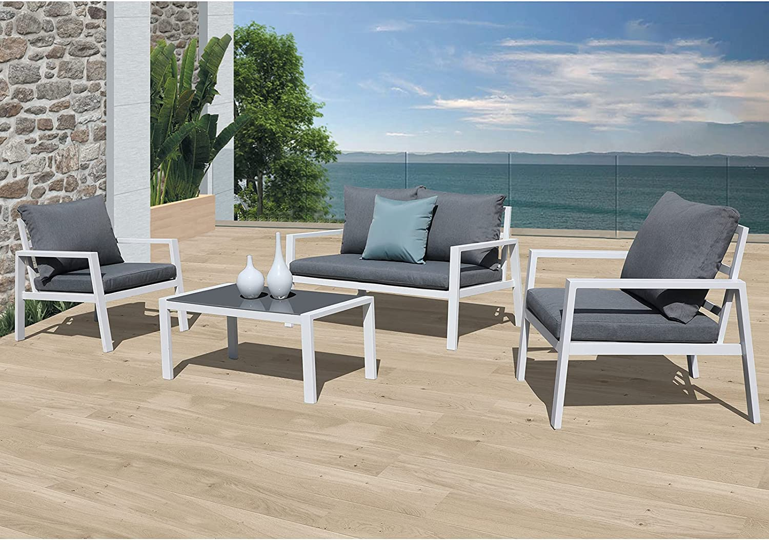 Soleil Jardin 4-Piece Outdoor Patio Sectional Furniture Set, Aluminum Conversation Sofa Set with Removable Cushions, Tempered Glass Top Coffee Table, White Finish & Grey Cushion