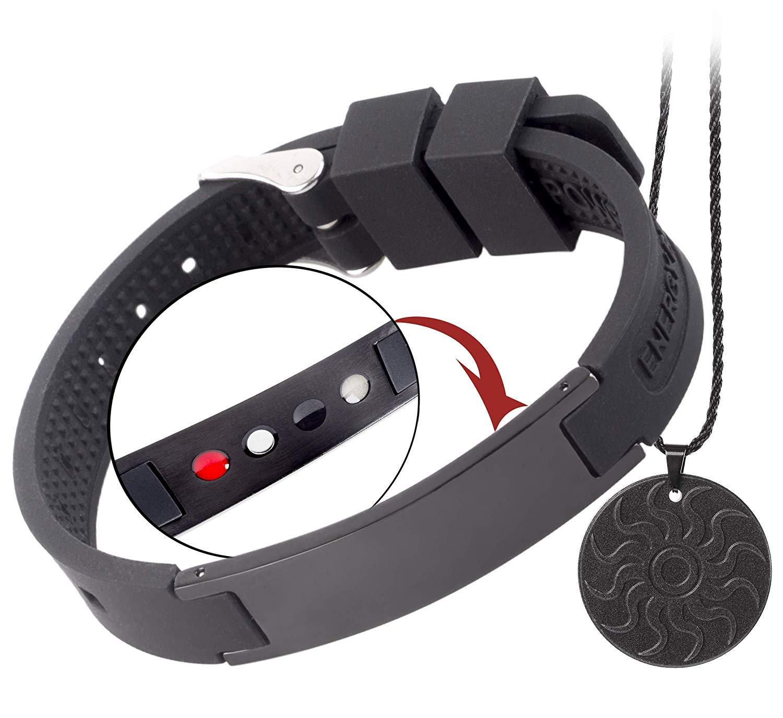 EMF Protection Anti Radiation Bracelet 4 in 1 (Pendant Bonus). Negative Ions, Germanium, Far Infrared and Neodymium Magnet. Arthritis Pain.Carpal Tunnel.Immunity.Migraines by QUANTHOR