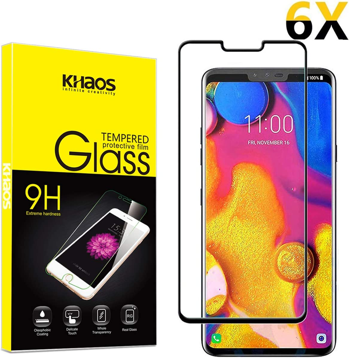6-Pack Black for LG V40 thinq Screen Protector, KHAOS Full Cover Tempered Glass Screen Protector 9H HD-Clear Ant-Scratch Glass Protector