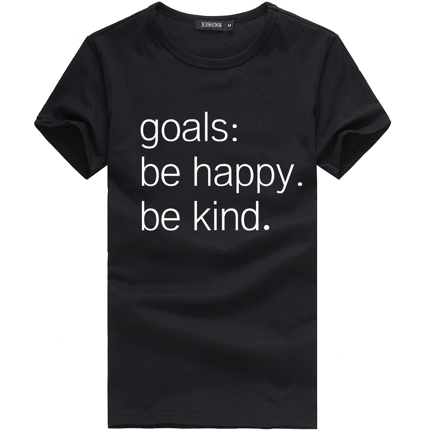 HHei_K Women Printed Letters T-Shirts Goals: to Be Happy. Be Kind. Short Sleeve Crewneck Blouse Summer Loose Tops Black