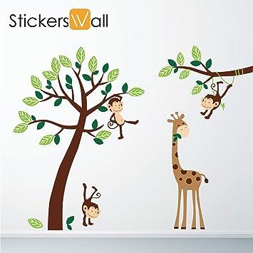 Nice Monkey Giraffe Tree Nursery Jungle Wall Stickers Part 6