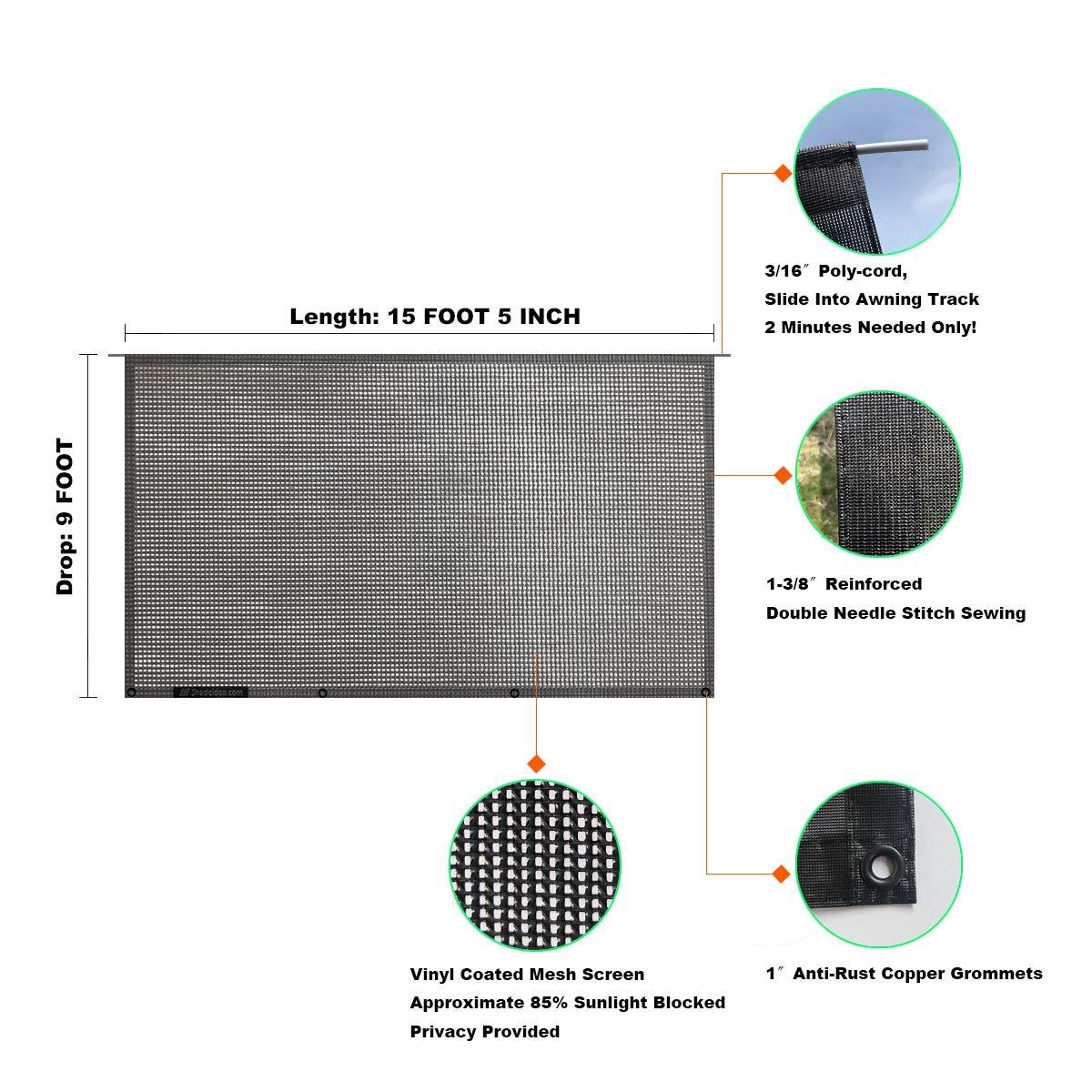 Shadeidea RV Sun Shade Screen for Awning 8 X 15 5 Brown Mesh Sunshade Motorhome Camping Trailer UV Sunblocker Canopy Sunscreen Offer 3 Years Warranty
