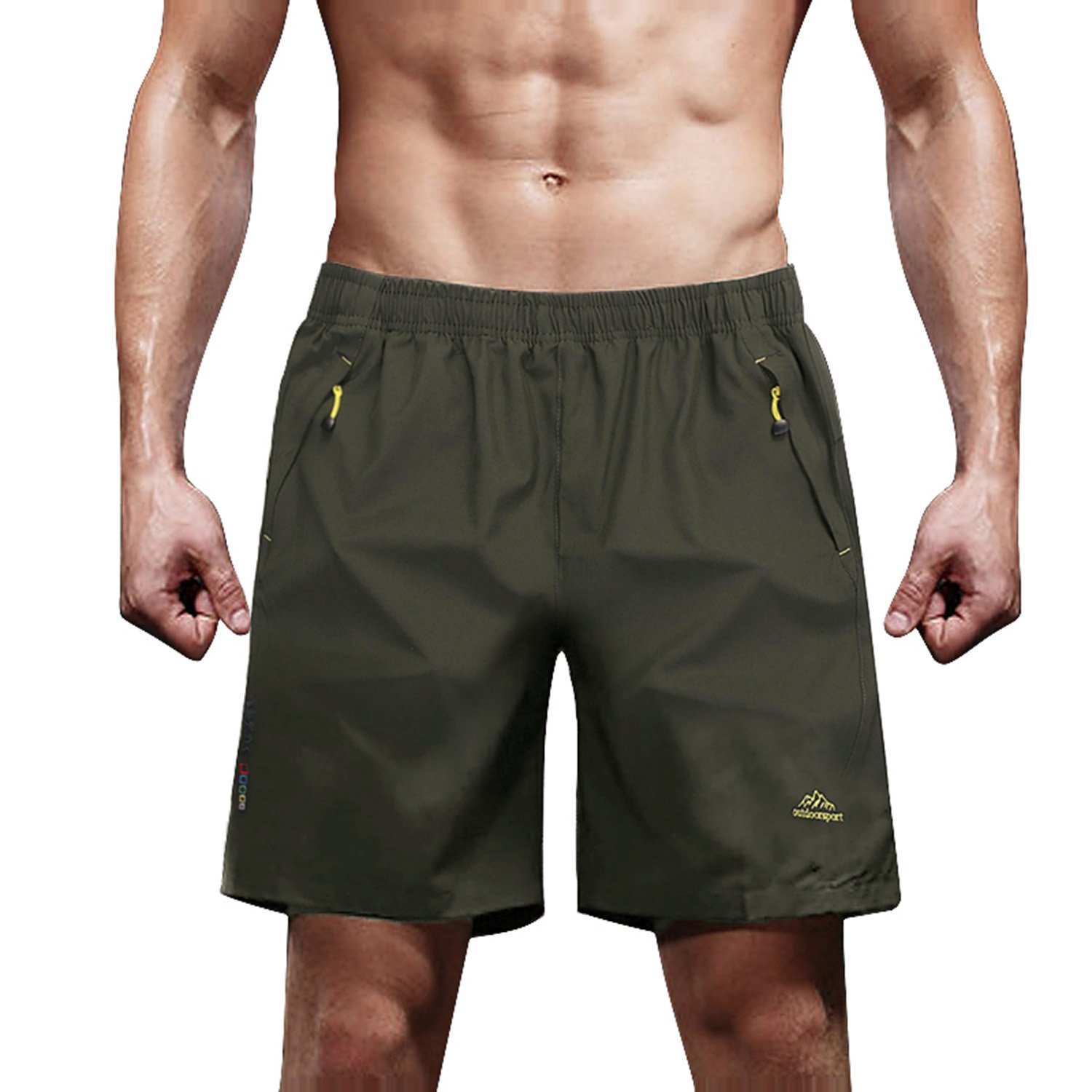 Quick Dry Shorts for Men Hiking Shorts Running Shorts Performance Shorts Climbing Shorts Camping Shorts for Men Olive by MAGCOMSEN