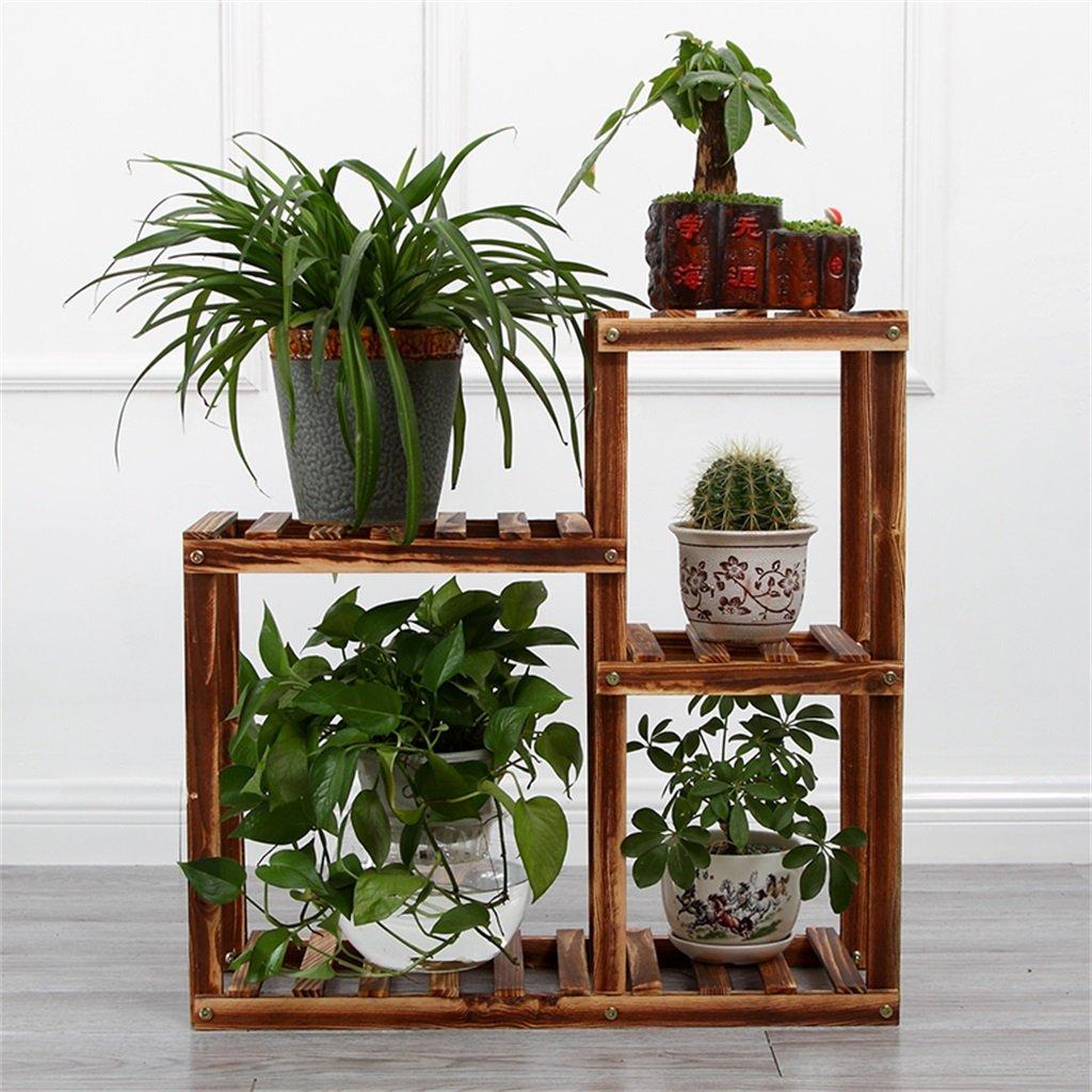 Cornice floreale   Stand per piante all'aperto   Fioriera in legno di pino, 4 ripiani, supporto per piante da interno, multistrato, HxLxP  65 x 65 x 28 cm, colore antracite ( colore   A )