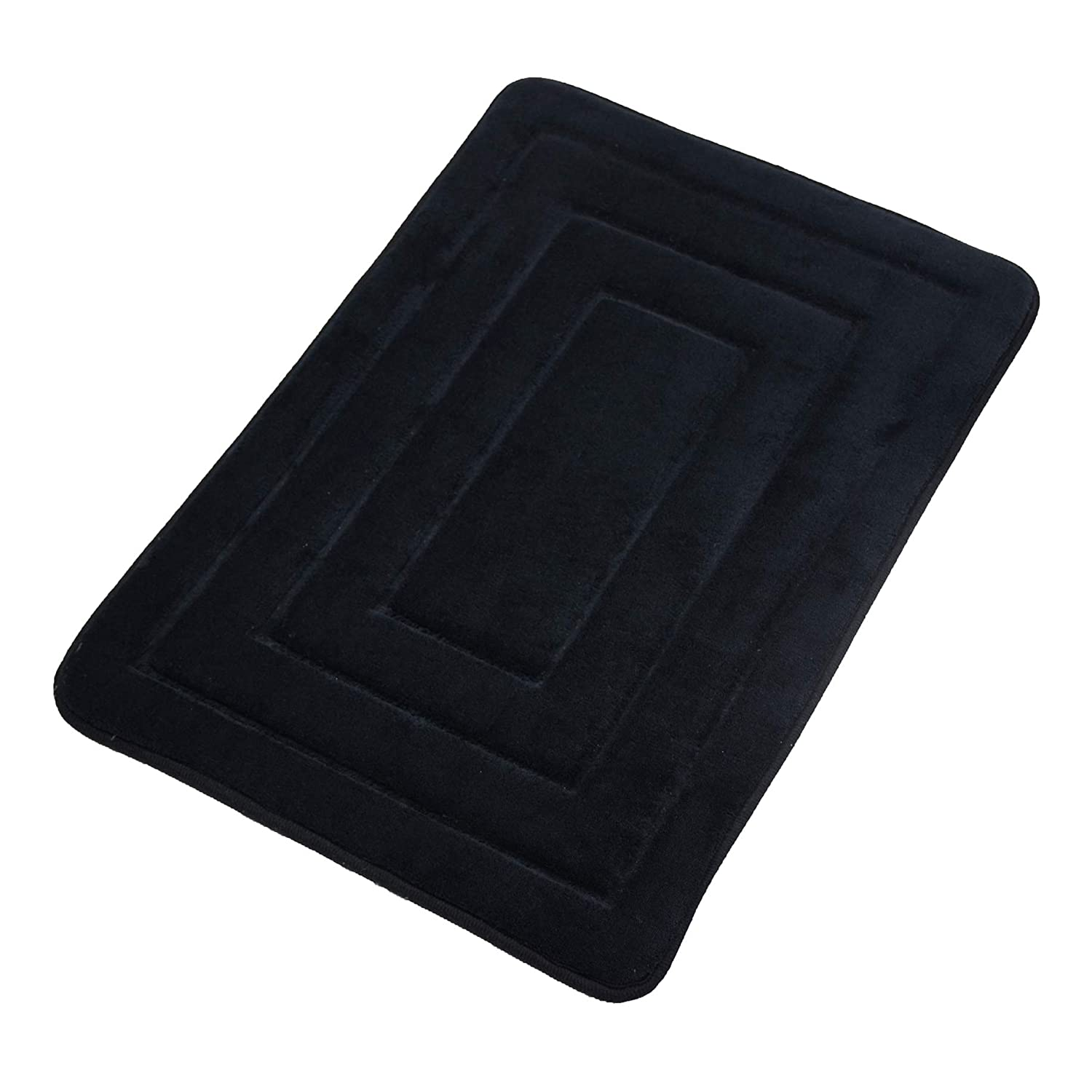 Elegant Bath Mat Soft Bathroom Rugs Non-Slip Rubber Shower Rugs Comfortable Coral Velvet Bathroom Mat (16 x 24 Alternate Stripe, Black)