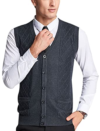 Yeokou Men's Wool V Neck Sleeveless Knitted Button Down Sweater ...