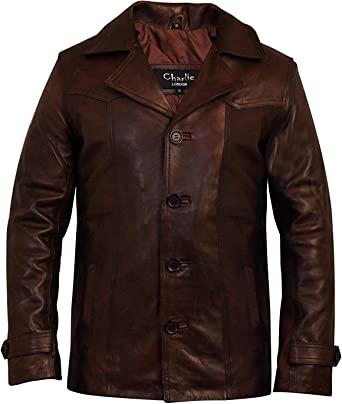 MEN/'S REAL ANTIQUE VINTAGE BROWN LEATHER JACKET COAT