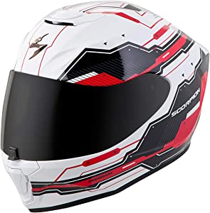 Scorpion EXO-R420 Full-Face Techno Street Bike Motorcycle Helmet - White/Red/X-Large