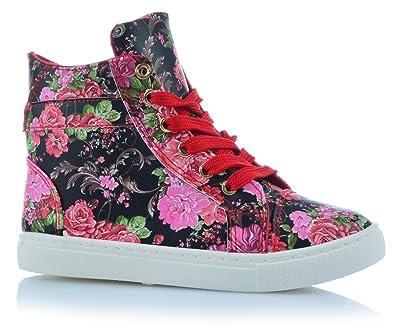 Mädchenschuhe Kinder Sneaker Freizeitschuhe Knöchelschuhe Blumen Sommer  (25, Rot) f525f12c2b