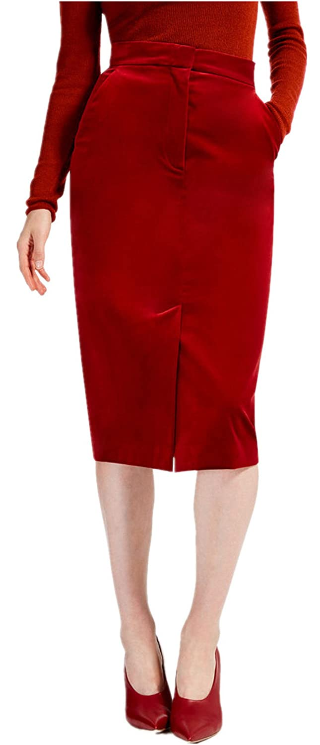 d3eac4e29 TEXAS, FOOTBALL COUNTRY Women's Velvet Slim Fit High Waisted Pencil Midi  Skirts - Red at Amazon Women's Clothing store: