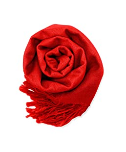 Soft Pashmina Scarf for Women Shawl Wrap Scarves Lady Women's Scarfs in Solid Colors - Red