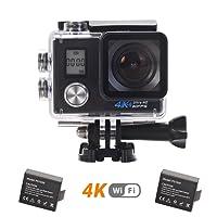 LMT 4K Caméra Sport Sous-Marine WiFi 16MP Ultra HD Double Ecran 2.0 LCD 170 Grand Angle Etanche 30M Vidéo Caméra sportive avec 2 Batteries et Kits d'Accessoires