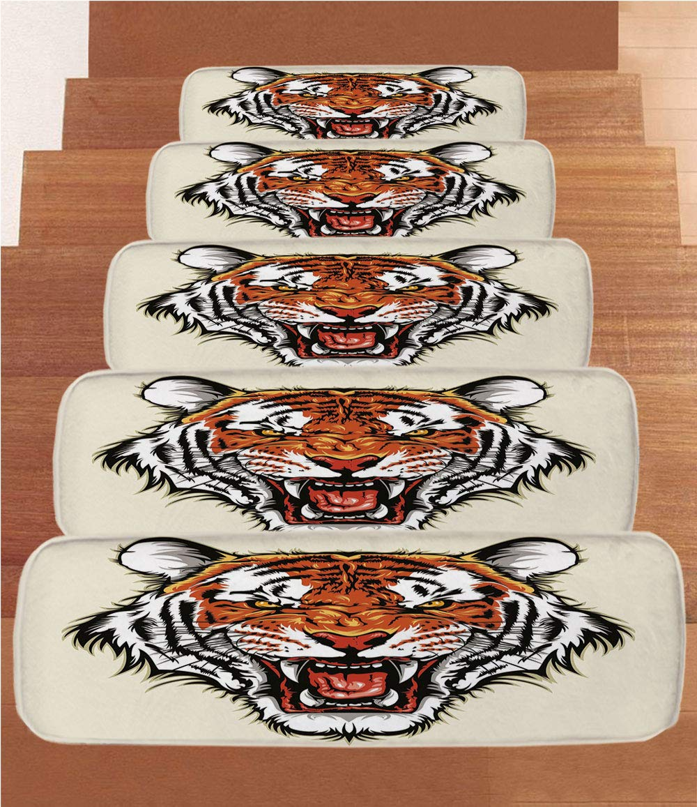 iPrint Non-Slip Carpets Stair Treads,Tiger,Angry Ready to Attack Beast with Sharp Fangs Jungle Animal Detailed Face of Hunter,Orange Black,(Set of 5) 8.6''x27.5'' by iPrint