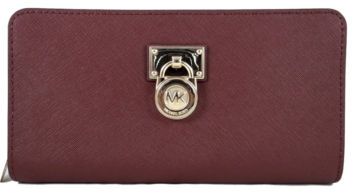 Michael Kors Hamilton Traveler Large Zip Around Cluch Wallet Brown/Luggage (Merlot)