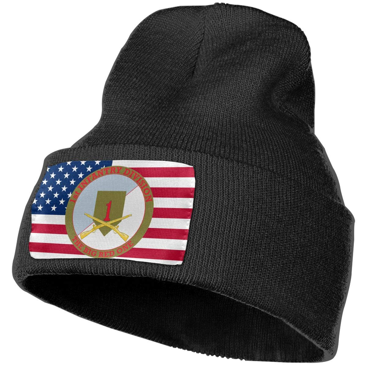 1st Infantry Division with Crossed Rifles Men/&Women Warm Winter Knit Plain Beanie Hat Skull Cap Acrylic Knit Cuff Hat