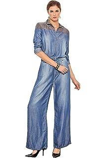 5091ebd37091 Standards   Practices Modern Women Contrast Shoulder Tencel Denim Flare  Jumpsuit