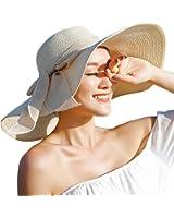 Women Floppy Hat Big Bowknot Straw Hat Wide Brim Beach Hat Sun Hat
