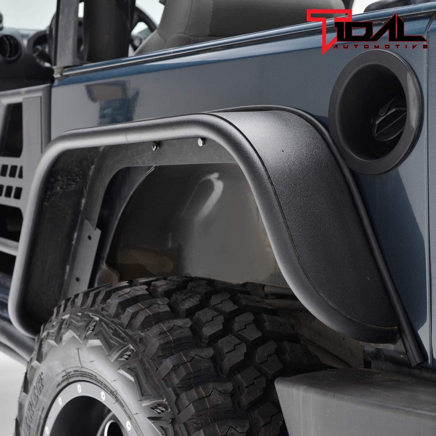 Amazon Com Tidal Rear Fender Flares Flat Styles Steel Fit For 07 18 Wrangler Jk Automotive